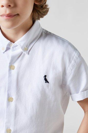Camisa Manga Curta Oxford Branca Infantil - Reserva Mini
