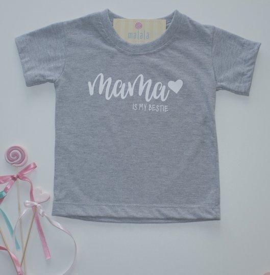 Camiseta Manga Curta Cinza Mama is My Bestie Tal Mãe Tal Filha Infantil - Malalá