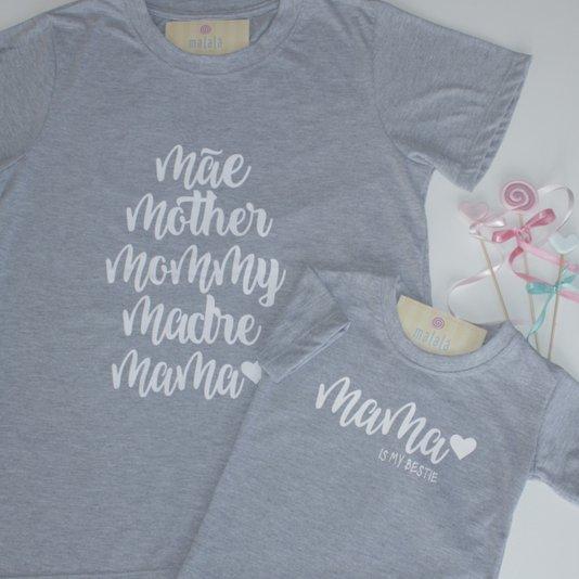 Camiseta Manga Curta Cinza Mama Tal Mãe Tal Filha Adulto - Malalá