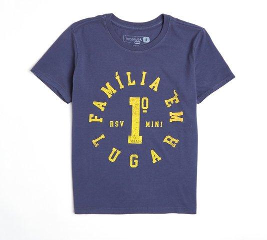 Camiseta Manga Curta Família em Primeiro Lugar Marinho Infantil - Reserva Mini
