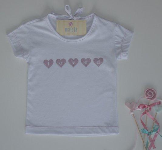 Camiseta Manga Curta Loved Tal Mãe Tal Filha Infantil - Malalá