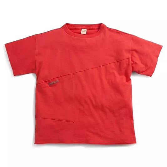 Camiseta Manga Curta Vermelha Fluir com Bolso Infantil - Green
