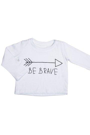 Camiseta Manga Longa Be Brave Branca Infantil - Nutti