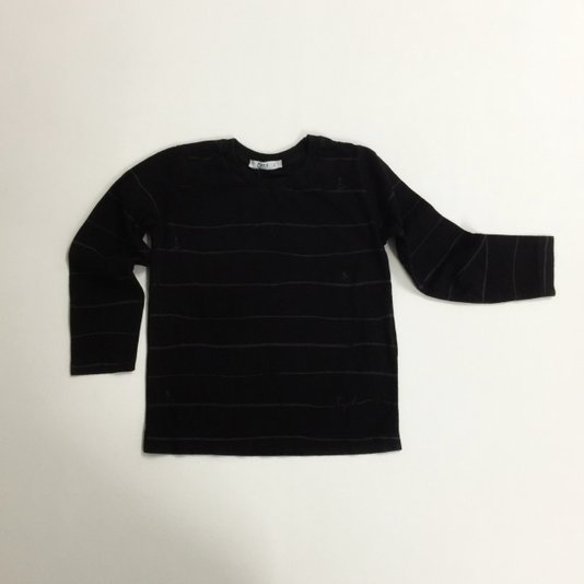 Camiseta Manga Longa Preta com Listras Cinza - Tyrol