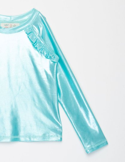 Camiseta Praia Manga Longa Menta Brilho Infantil - Que te Encante