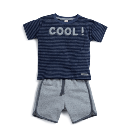 Conjunto Curto Bermuda Cinza e Camiseta Manga Curta Marinho Cool Toddler - Green