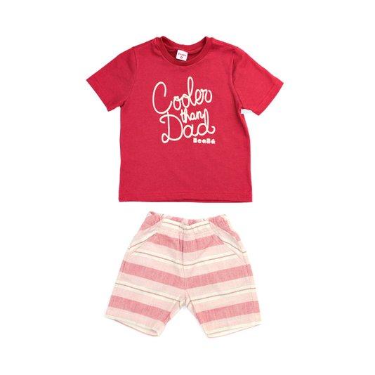 Conjunto Curto Bermuda e Camiseta Cooler Than Dad Vermelho Infantil - Beabá