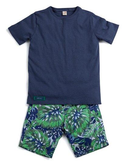 Conjunto Curto Bermuda Estampa Liberdade e Camiseta Manga Curta Marinho Infantil - Green