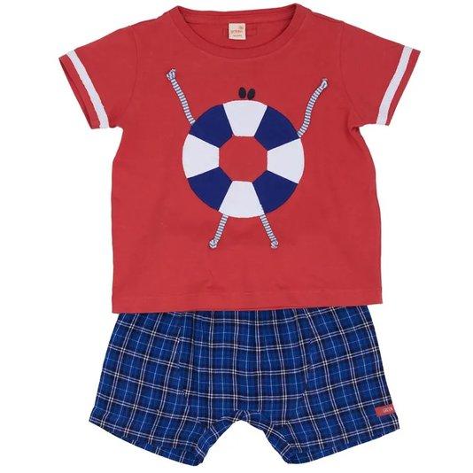 Conjunto Curto Camiseta e Bermuda Estampa Pier Vermelho Toddler - Green