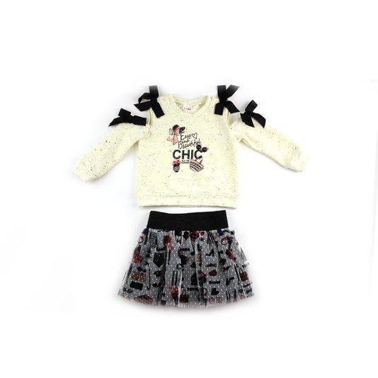Conjunto Curto Shorts Saia e Blusa Manga Longa Easy and Beautiful Infantil - Beabá