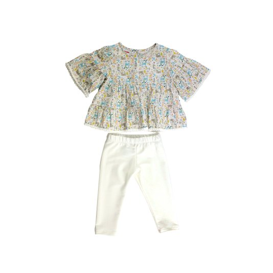 Conjunto Legging Off White e Bata Estampa Pompons Infantil - Beabá