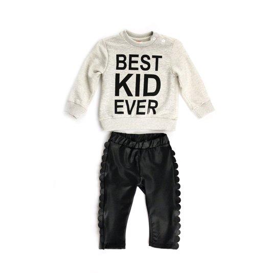 Conjunto Longo Calça Couro Preta Eco e Blusa Best Kid Ever Infantil - Beabá