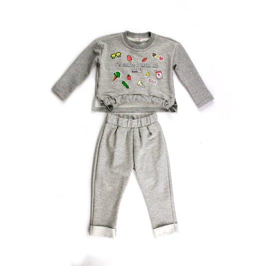Conjunto Longo Calça e Blusa Cinza Moletom Virtual Hug Infantil - Beabá