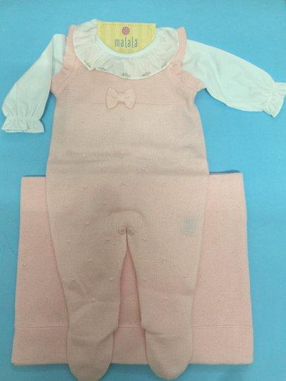 Conjunto Saída de Maternidade Jardineira Lacinho + Body + Manta - Verivê
