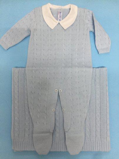 Conjunto Saída de Maternidade Macacão Tranças Azul Claro com Manta - Verivê