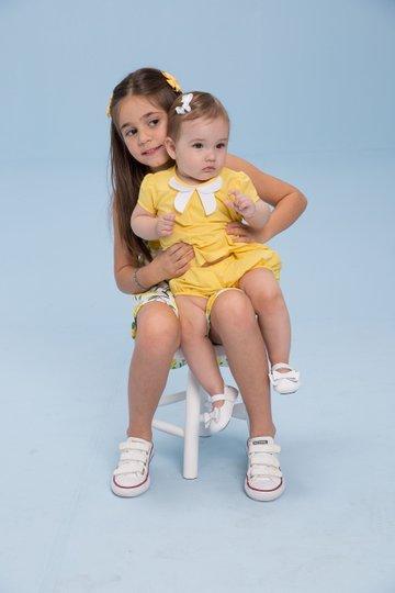 Conjunto Shorts e Bata Amarelo Bebê - Beabá