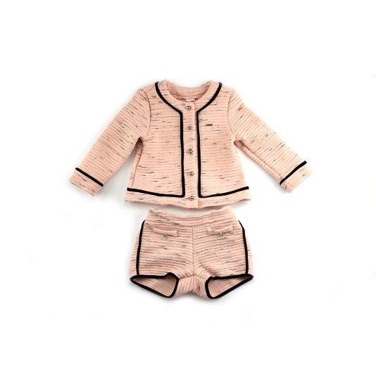 Conjunto Shorts e Casaco Rosa Infantil - Beabá