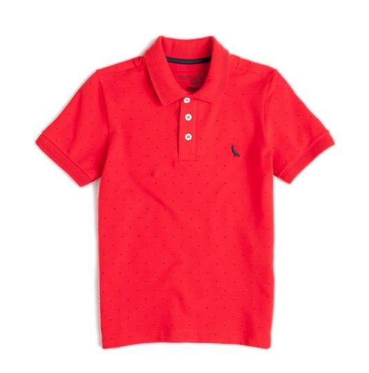 Camiseta Polo Manga Curta Mini Poazinho Vermelha Infantil - Reserva Mini