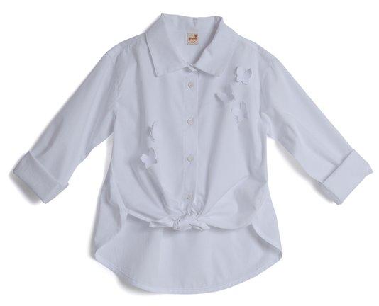Camisa Manga Longa Branca com Aplicação Borboleta Infantil - Green