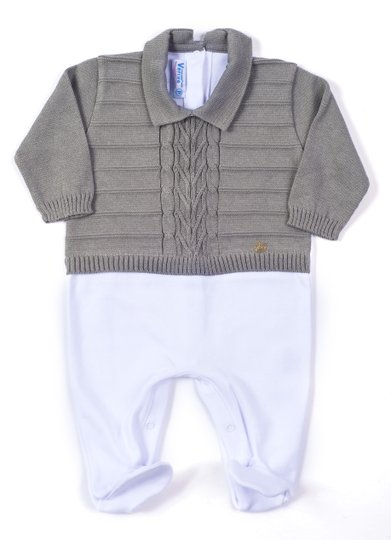 Macacão Trança Links Mix Tricot Cinza e Algodão Branco 100% Algodão - Verivê Baby