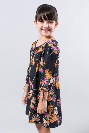 Vestido Meia Manga Preto Estampa Tropical Infantil - Reserva Mini