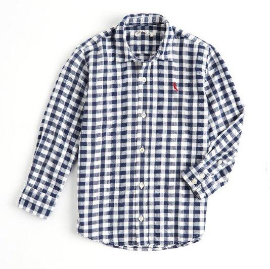 Camisa Manga Longa  Xadrez Regular Vichy Botone Marinho e Branca Infantil - Reserva Mini