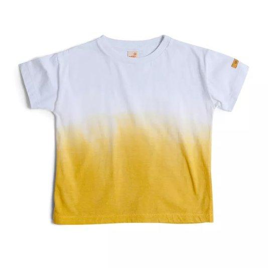 Camiseta Manga Curta Mistura Branco e Amarelo Infantil - Green