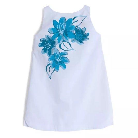 Vestido Regata Branco Sakura Aquarela Azul Infantil - Green