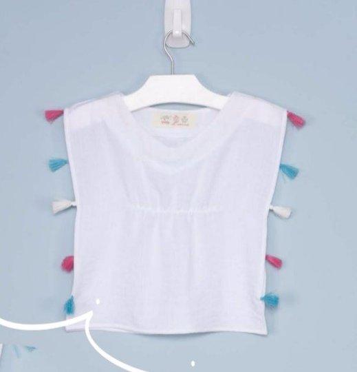 Kaftan Frutos Liso Branco com Pompons Rosa Azul e Branco Bebê - Que te Encante