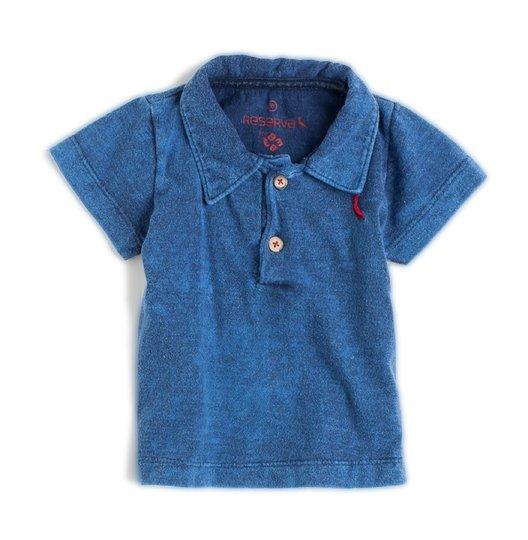 Camiseta Polo Manga Curta Malha Indigo Bebê  - Reserva Mini