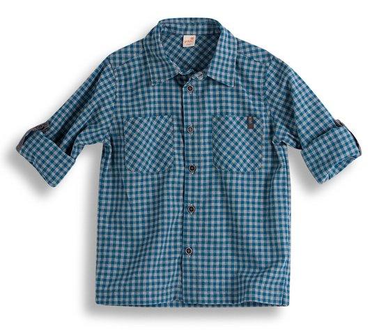 Camisa Manga Longa Super 8 Xadrez Turquesa e Cinza Infantil - Green