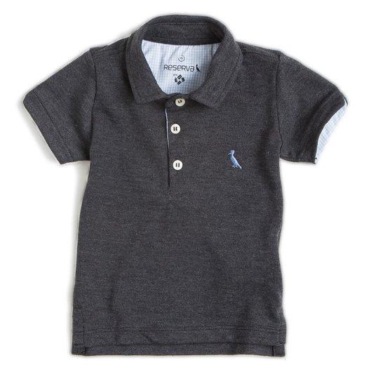 Camiseta Polo Manga Curta Cinza Mescla Escura com Pala Interna Quadriculada Bebê - Reserva Mini
