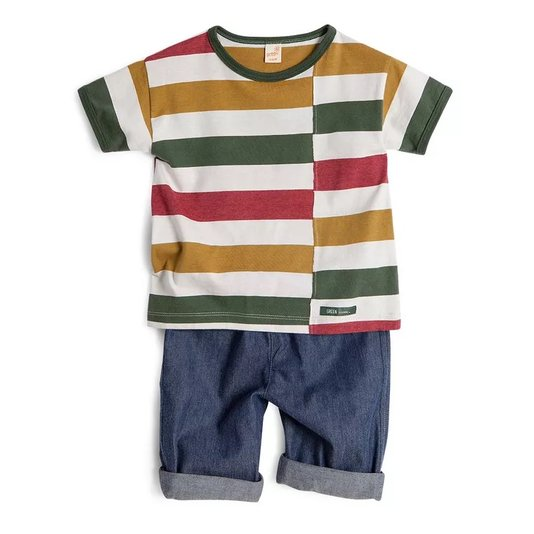 Conjunto Bermuda Jeans e Camiseta Estampa Trilhas Toddler - Green