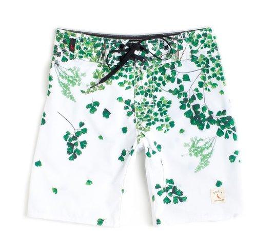 Bermuda de Banho Avenca Branca e Verde Infantil - Reserva Mini