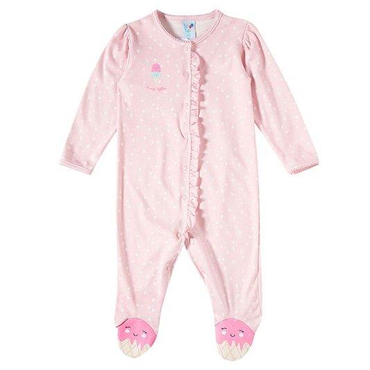 Macacão Bebê Rosa Bolinhas