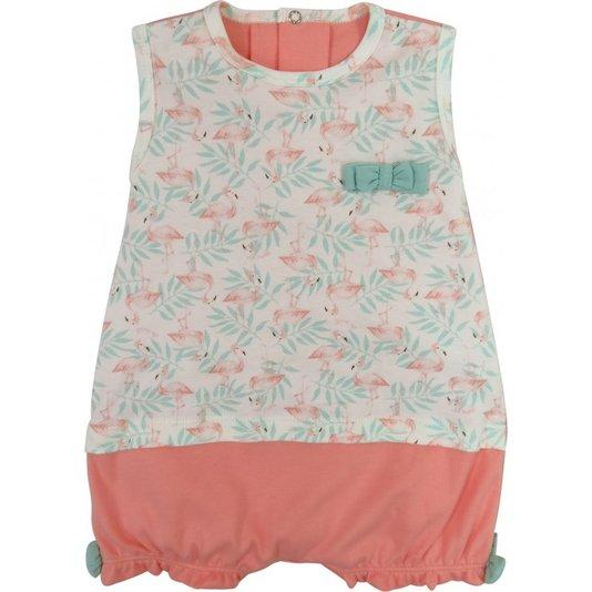 Macacão Curto Estampa Flamingos Bebê - Grow Up