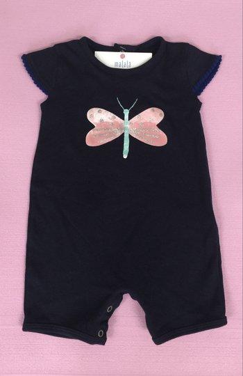 Macacão Curto Marinho Borboleta Bebê