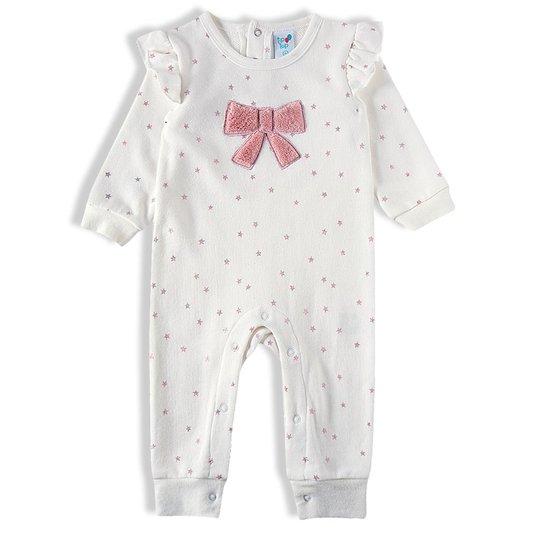 Macacão Estrelas Laço Com Faixa Bebê