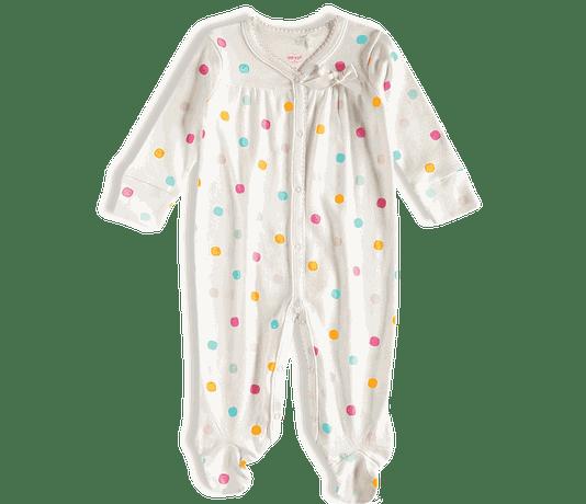 Macacão Longo Bolinhas Off White Bebê