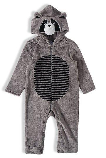 Macacão Longo Pelúcia Cinza Urso Infantil