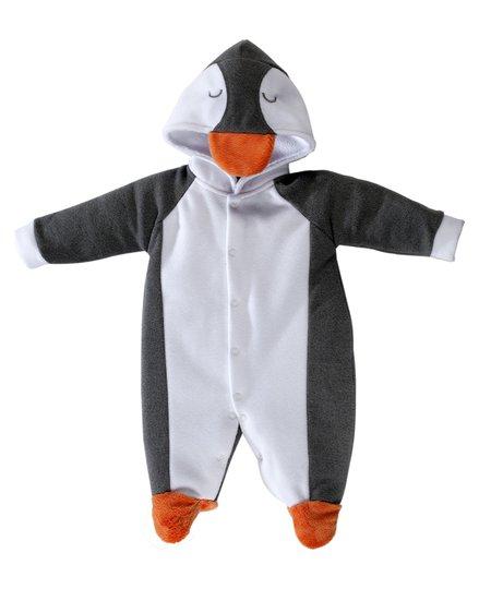 Macacão Longo Pinguim Branco e Cinza Com Capuz Bebê e Infantil - Grow Up