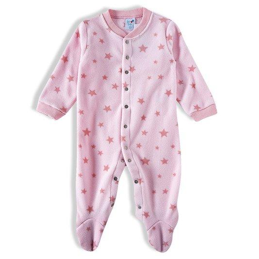 Macacão Rosa Estrelas Soft Bebê