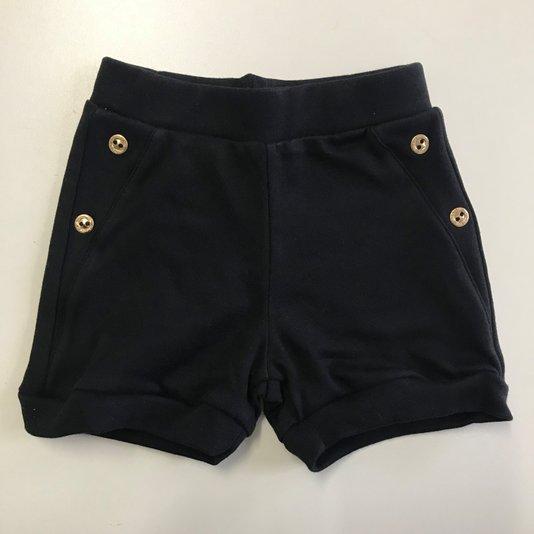 Shorts Básico Preto com Botões Dourados Bebê - Grow Up