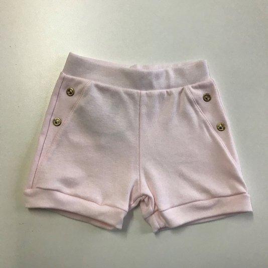 Shorts Básico Rosa com Botões Dourados Bebê - Grow Up