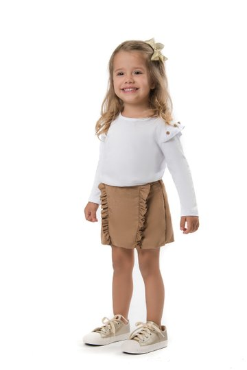 Shorts Saia Country Caramelo Infantil - Nutti