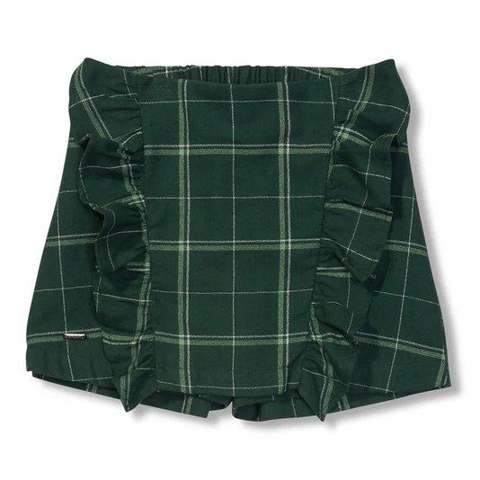 Shorts Saia Xadrez Violeta Verde Infantil - Green By Missako