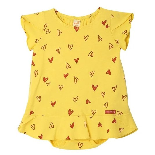 Vestido Love Amarelo Bebê