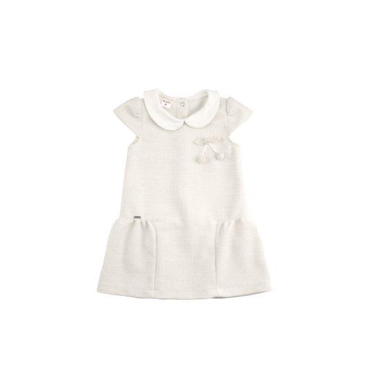 Vestido Manga Curta Creme Infantil - Beabá