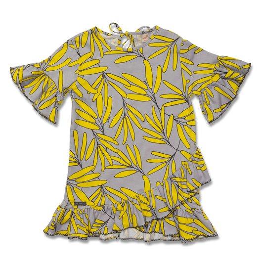Vestido Manga Curta Estampa Floresta Cinza e Amarelo Infantil - Green By Missako