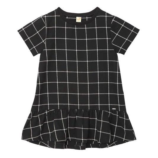 Vestido Manga Curta Xadrez Grid Toddler